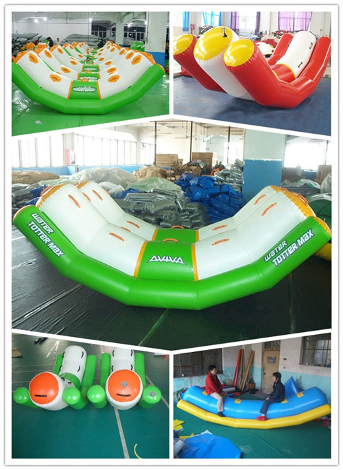 White And Green Totter Board Inflatable Water Sports For Lake , Big Pool