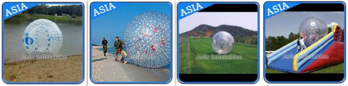 Inflatable Color Dots Aqua Zorbing Ball Played On Grassland / Water
