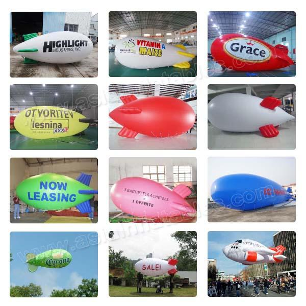 Inflatable White Blimps Airship Zeppelin With Custom Logo Print, Helium Balloon