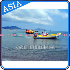 Chiny Sealed 3m Inflatable Floating Spin Water Disco Boat For 8 Person Blue / Yellow fabryka