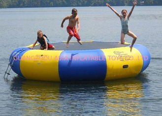 Chiny 4m bule and yellow water trampoline, inflatable water games trampoline fabryka