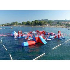 Chiny Red and Blue Inflatable Aqua Park , 0.9mm PVC Tarpaulin Inflatable Sports Park fabryka