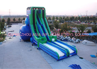 Chiny Green And Blue  Dry and Wet Slides , Inflatable Drop Kick Slide With Double Lanes For Resort And Event fabryka