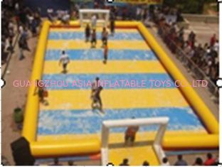 Chiny Customized Excellent Inflatable Water Soccer Field / Sports Inflatable Yellow Soccer Field fabryka