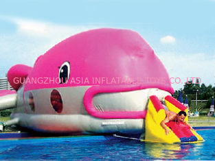 Chiny Water Floating Games, Inflatable Obstacle Course In Pink Whale Model fabryka