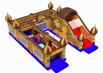 Chiny Modern Inflatable Amusement Park, Outdoor Entertainment Golden Bouncy Castle Combo fabryka