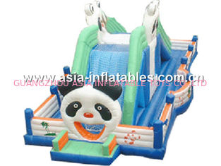 Cute Panda Inflatable Fairground, Inflatable Trampoline Park Games For Kids