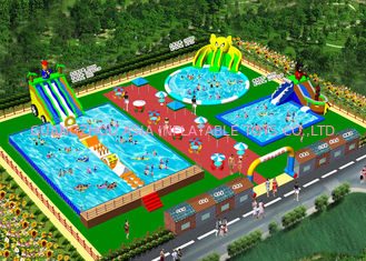 OEM On Land Inflatable Water Playground / Aqua Slide Park 3 lata gwarancji