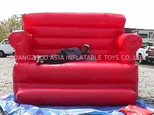Chiny Red Durable Pvc Tarpaulin Inflatable Sofa Air Bed Furniture , Inflatable Couch Furniture fabryka