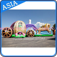 Chiny Outdoor Inflatable Horse Carriage Jumping Castle with Slide For Children fabryka