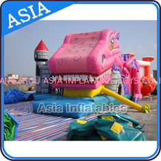 Chiny Lovely Inflatable Pink Snappy Dragon Bouncy Castle For Backyard Games fabryka