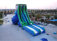 Green And Blue  Dry and Wet Slides , Inflatable Drop Kick Slide With Double Lanes For Resort And Event dostawca