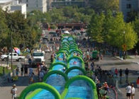 Outdoor Inflatable Slide The City Huge Water Slide 2 Lanes Quadruple Stitching