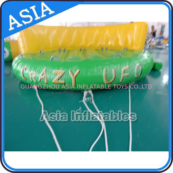 5 Person Water Ski Tube Inflatable Boats Crazy UFO Shaped 0.9mm PVC Tarpaulin dostawca