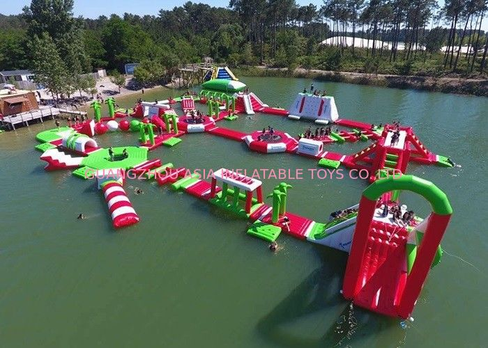 Red and Green Moving Inflatable Aqua Water Park For Sea Or lake dostawca