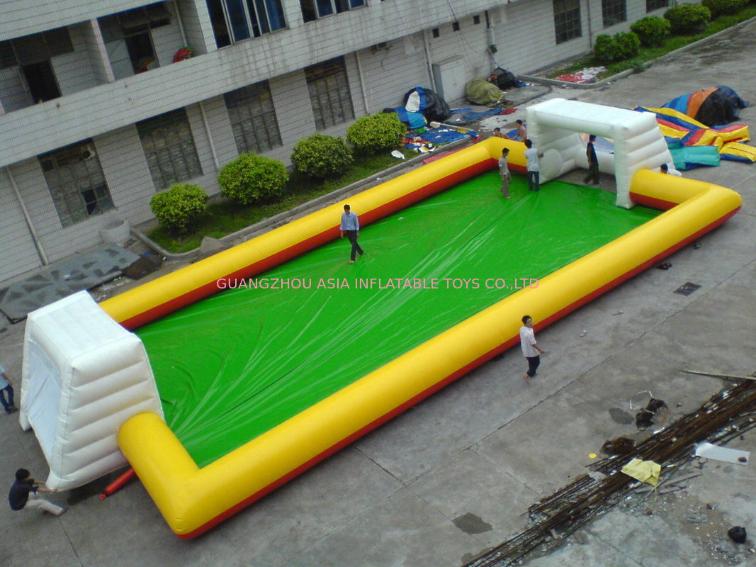 Large Scale Inflatable Soccer Filed , Inflatable Amusement Park Playground dostawca