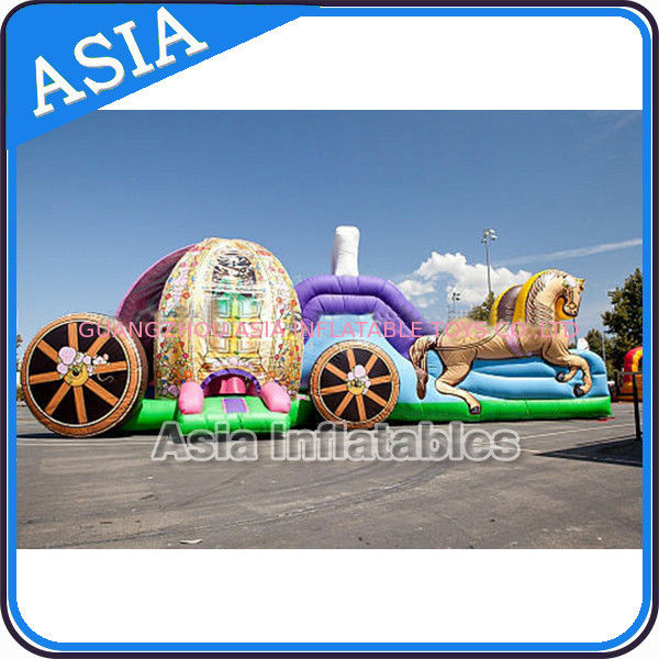 Outdoor Inflatable Horse Carriage Jumping Castle with Slide For Children